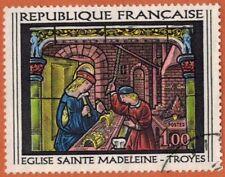 1967-Timbre France Obl-Vitrail Sainte Madeleine-Eglise-Stamp-Yv.1531-Réf.Ob.48