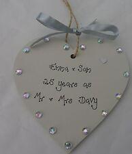 Personalizzato 25th Argento Anniversario Di Matrimonio Cuore in legno fatto a mano regalo 10cm