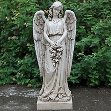 "36"" Angel Holding Rose Wreath Indoor Outdoor Garden Statue Yard Decor 66290"