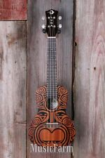 Luna UKE TRIBAL CONCERT Ukulele All Mah Body Uke 15 Inch Scale Satin Natural