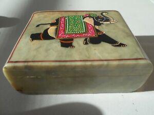 BEAUTIFUL STONE HINGED TRINKET BOX WITH ELEPHANT ON COVER 4CM X 10CM X 7 1/2CM