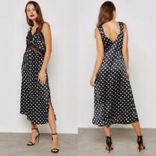 NEW TOPSHOP Festival BLACK & WHITE Polka Dot LACE Satin SLIP Midi DRESS US 4