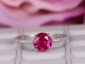 2.20 Ct Round Diamond Ruby Engagement Ring 14K Real White Gold 4 5