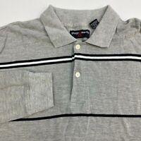 George & Martha Polo Shirt Men's 2XL XXL Long Sleeve Gray Black Striped Cotton