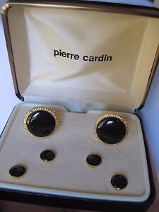 Pierre Cardin Cufflinks & Studs, Round, Gold-Tone with Onyx Stones, NOS