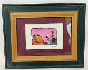 "Original Watercolor & Ink Southwest Cactus 3""x2"" Matted Framed Signed Jo Ott"