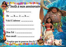 5 cartes invitations anniversaire Vaiana 01