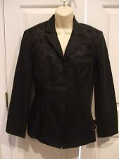 NWT NEWPORT NEWS EASY STYLE BLACK FITTED LINED BLAZER JACKET SIZE 8