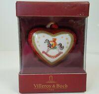 Villeroy and Boch Christmas Ornament Heart Shaped Rocking Horse Teddy Bear