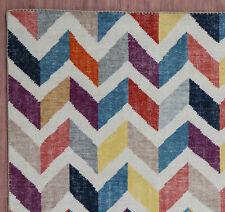 "Nani Colorful Zig Zag Modern 5.7""x7.10"" Handknotted 100% Woolen Rugs & Carpet"