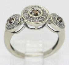 Anillos de joyería con diamantes en oro blanco de 10 quilates