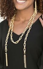 Paparazzi Jewelry Scarfed for Attention Gold Scarf Necklace w/ Earrings