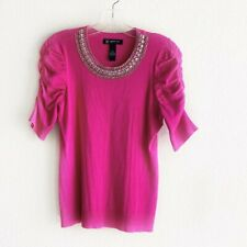 INC International Concepts PS Hot Pink Beaded Neck Gathered Sleeve Sweater