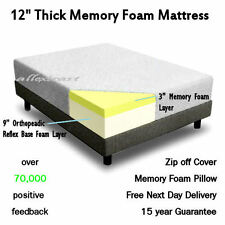 """12"""" inch SINGLE 3ft BED SIZE MEMORY FOAM MATTRESS + FREE COVER + FREE PILLOW"""