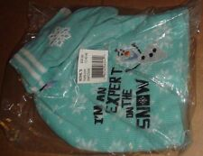 """NWT DISNEY'S FROZEN OLAF EMBROIDERED """"EXPERT ON SNOW"""" HAT & TEXTING GLOVES SET"""