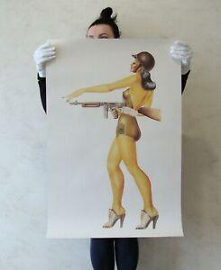 Pinup Poster Print girl military tommy gun World War Vintage uniform WW2 woman