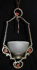 VINTAGE DECO CHANDELIER CAST METAL PENDANT GLASS SHADE LIGHT FIXTURE 1920's
