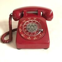 Vintage Bell System Western Electric Rotary Dial Desk Phone - Red