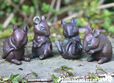 Set 4 cute old brass effect mice ornaments decoration mouse garden lover gift