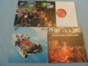3 LP THE TEENS Rock City Night / Teans Taday / Teans & Jeans + Poster | EX
