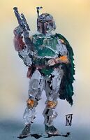 ORIGINAL Abstract Boba Fett Palette Knife Star Wars Art Painting Portrait 11x17""