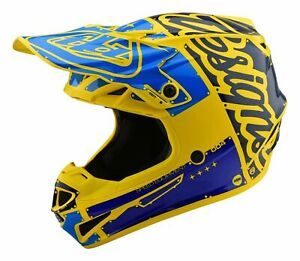 New Troy Lee Designs SE4 Factory Yellow Blue Adult Large MX Helmet TLD Motocross