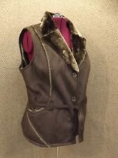 Sporty NEW Brown Faux Shearling Suede Belted Vest Faux Fur Lined Sz 2X Rancher