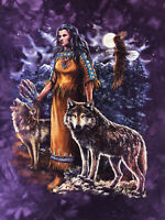 Womens Native American Indian Woman Girl Wolf Eagle T-Shirt Medium Purple