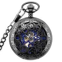 Herren Antikes mechanisches Skelett Steampunk Taschen Uhr Geschenk Ketten N Y3F5