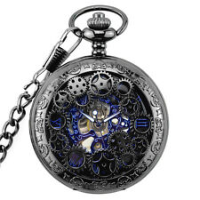 Antique Mechanical Skeleton Steampunk Mens Pocket Watch Gift Chain Black & Blue