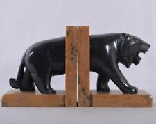 Vintage Bookend Tiger Bookend Figurine Handmade Stone Item Polished Home Decor