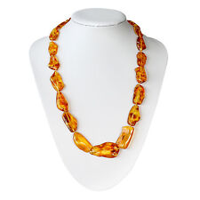 Natural Baltic Amber Adult Massive Necklace with Polished Honey Color Beads