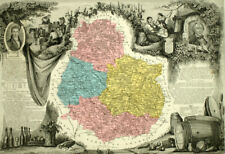 1861 Carte géographique ancienne DÉPARTEMENT DE LA CÔTE D'OR, RÉGION DE DIJON