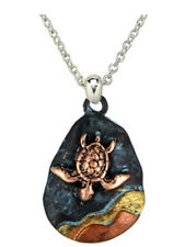 "Sea Turtle Pendant Necklace Patina Copper Finish 18"" Stainless Steel Chain"