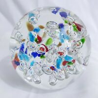 Paperweight Controlled Bubbles Large Multicolor Red Green Blue Metallic 4lbs