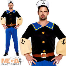 Strong Sailor Man Fancy Dress Cartoon Mens 80s Adult 1980s Costume Outfit + Hat