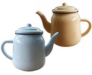 Large Enamel Teapot vintage style 14cm 1.2 / 1.5 litre, kitchen, camping,planter