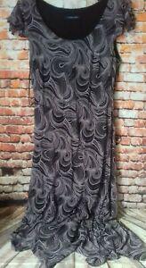 windsmoor purple and black long dress sleeveless armpir to armpit 18 inches size