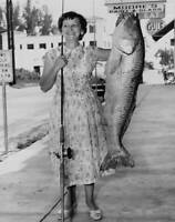 Woman Holding Red Drum In Melbourne 1956 OLD FISHING PHOTO