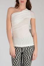 RICK OWENS New Woman White Viscose & Silk ONE SHOULDER Top Tee Sz 38 IT $259 NWT