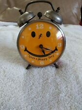 """VINTAGE """"ROBERT SHAW LUX TIME"""" Red SMILEY FACE ALARM CLOCK HAVE A HAPPY DAY"""