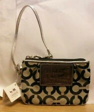 100% Genuine COACH Poppy OP Art Purse 44061 SBWSV Wristlet in Silver & Black
