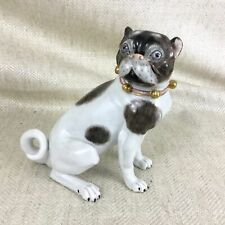 Dresden Porcelain Pug Dog Male Hand Painted Pugs Figurine Ornament