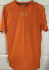 S UNDER ARMOUR HEAT GEAR TECH TRAINING T-SHIRT  SMALL LOOSE FIT ORANGE