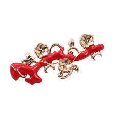 Broche Rama Coral Flor Metal Esmalte Rojo Retro Dorado XZ 3