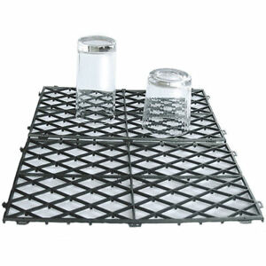 "10 Interlocking Glass Mats Black Plastic Pub Bar Shelf Liner Matting 8"" x 12"""
