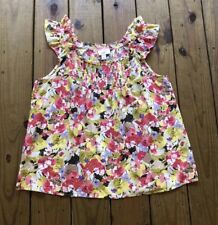 Ann Taylor LOFT size L pink yellow floral ruffle strap pleated bust tank top