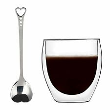 KUWAN Coffee Cup Mug 8.5 Ounce Adiabatic Glass w/ Heart Shaped Spoon Double Wall