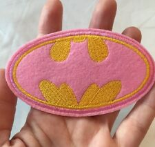 "Batman Embroidered Patch Iron On Pink Yellow Gold Batgirl Logo 4"" Medium Size"