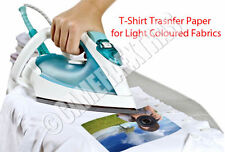 Iron On T-shirt Transfer Inkjet Printer Paper X 5 Sheets Light Fabrics UK